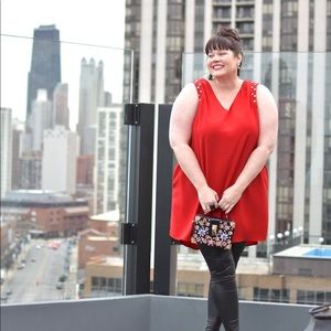 Rebel Wilson Red Studded Tunic Dress